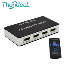 PIP 4 to 1 HDMI Switch For PS3 PS4 Switch HDMI PIP Splitter Switcher 4K 3D HD 1080P Video With AC Power Adapter Remote Control