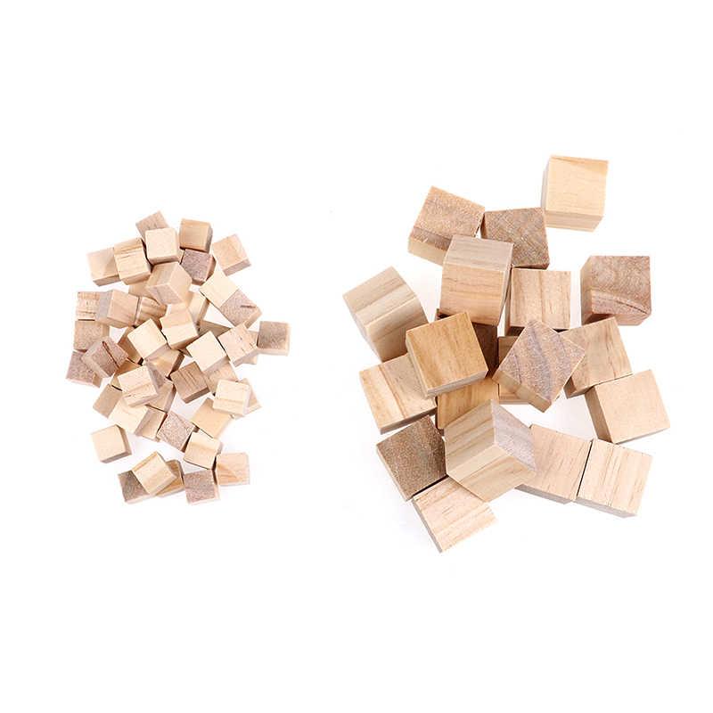 2019 Baru 10 Mm/20 Mm Kayu Blok Persegi Mini Batu Perhiasan untuk Kayu Kerajinan DIY