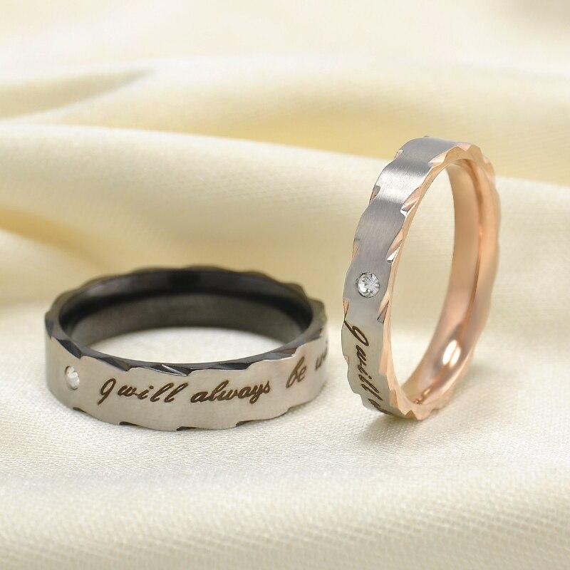"""2016 Romatic Любовник """"я всегда будет с вами"""" Нержавеющаясталь пара Кольца классический Кольца для Для женщин свадебные Кольца бесплатная доставка"""