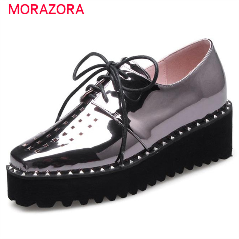 MORAZORA 2017 Hot Sale High Heel Platform Shoes Women Lace-up Soft Leather Shoes Square Toe Pu Solid Single Shoes Fashion