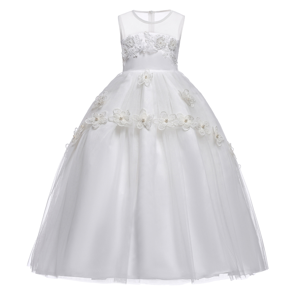 2018 Summer Kids Dresses For Girls Wedding Mesh Princess Dress Ball Gown Girls Dress цены онлайн