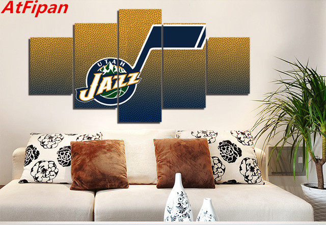 AtFipan Framed 5 Pieces Utah Jazz Wall Art Modern Home Decoration Living Room Bedroom Canvas Print Painting Picture In Calligraphy From