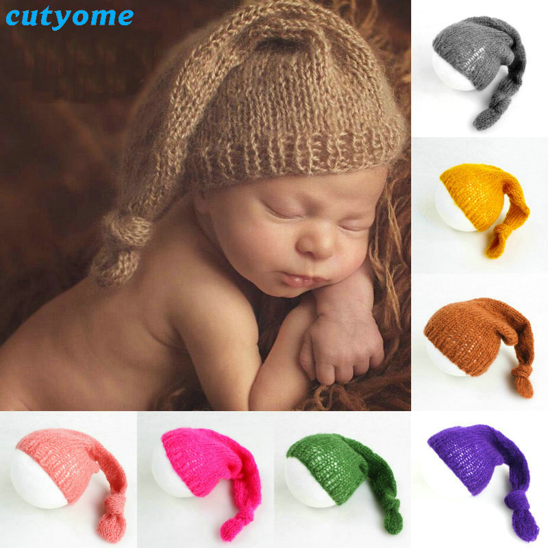 Newborn Photography Props Toddler Infant Baby Knitted Mohair Hat Costumes Beanie Cap Accessories Matching Photo Props Fotografia