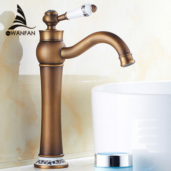 Basin Faucets Antique Bronze Solid Brass Bathroom  Basin Sink Faucet Ceramic Single Handle Deck Mixer Water Tap WC Taps RG-07F free shipping luxury solid brass bathroom basin tap with single handle bronze black basin faucet of hot cold mixer taps