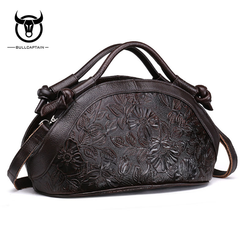 BULLCAPTAIN Women Crossbody Tote Handbag Vintage Genuine Embossed Leather Bag High Quality Oil Wax Cowhide Shoulder Bag Handbags neverout oil wax style split leather bag for women vintage boston bag shoulder sac 3 color handbags tote zipper tote new handbag