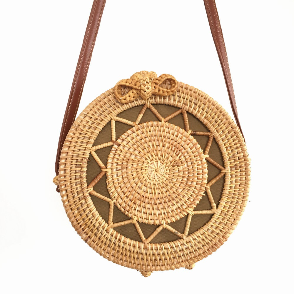 Round Rattan Bags for Women 2019 Hollow Out Summer Beach Shoulder Bags Ladies Straw Crossbody Bag Bamboo Women's Bags