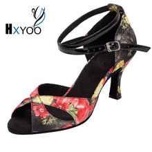 XHYOO 2017 New Arrived Women Salsa Shoes Latin Satin Soft Sole Flower With Black Ballroom Dance Shoes High Heel Peep Toe WK005