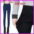 2016 Moda de Cintura Alta Jeans Mujer flaca Pantalones Vaqueros de Talla grande Hembra Lápiz Elástico Pantalones Vaqueros
