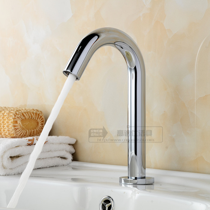 2015 New Arrival Real No Torneira Banheiro Tap Sink Fully-automatic Copper Basin Sensor Faucet Single Cold Counter Induction copper infrared intelligent automatic induction type single tap faucet wash