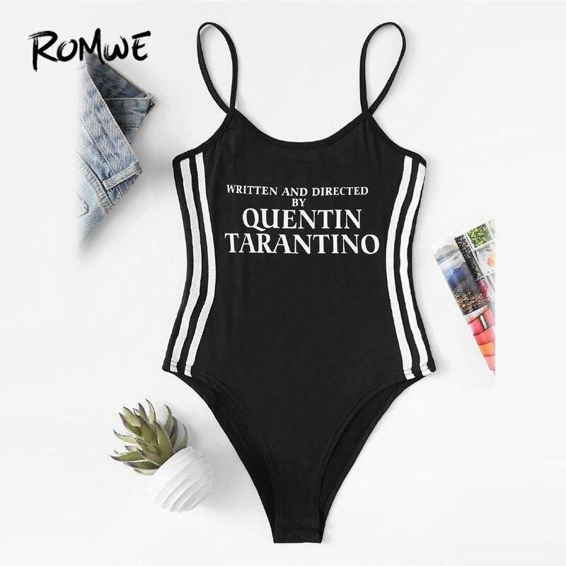 ROMWE Slogan Print Striped Side Bodysuit Black Mid Waist Regular Bodysuit 2018 Summer Sleeveless Plain Female Bodysuit ...