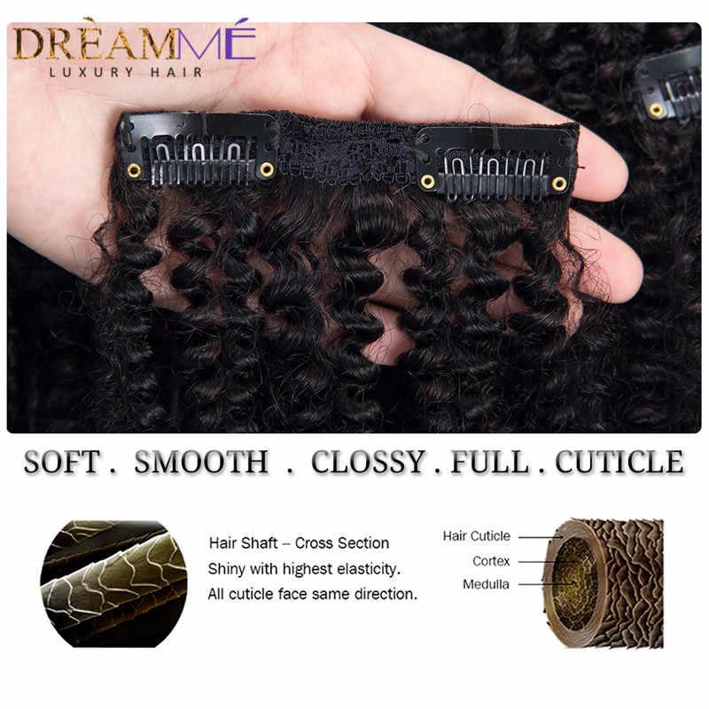 1B 4 27 kolor ombre 4B 4C mongolski Afro perwersyjne kręcone klip w doczepy z ludzkich włosów 8 sztuk/zestaw klipy 100% ludzkie naturalne Remy włosy