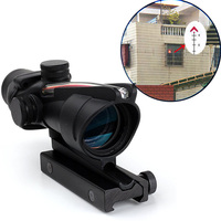 WIPSON New ACOG 4x32 Rifle Scope Front Rear Sights Hunting Shooting With Real Red Fiber For