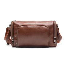 873 wholesale Retro Leather Men Shoulder Bag Satchel leisure Travel Cowhide Leather Bag
