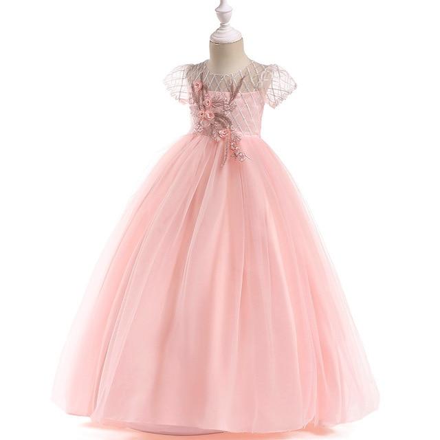 קצר שרוול פרח ילדה שמלות לחתונות 2019 ורוד Sheer צוואר תחרה כדור שמלת ילדות קטנות ראשית הקודש תחרות שמלות