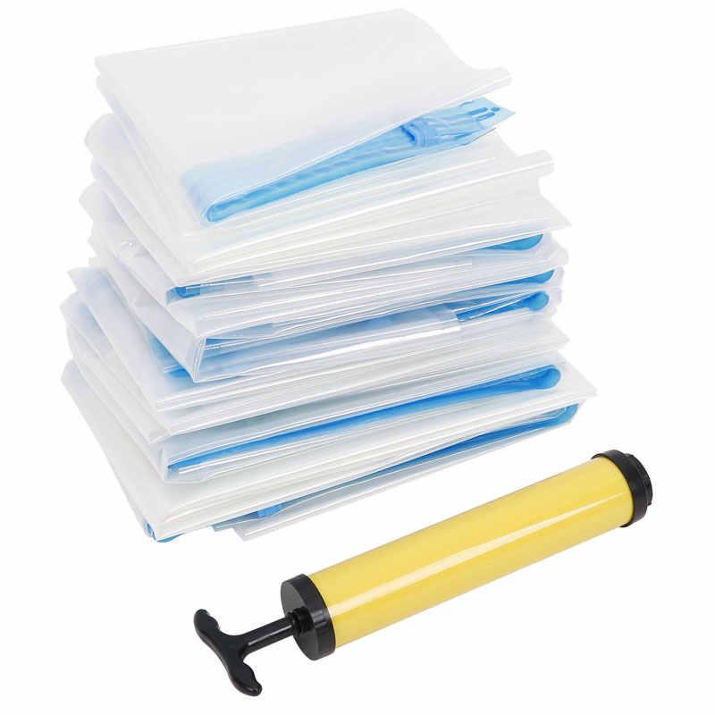 Sacos de vácuo Para A Roupa de Plástico Transparente Saco da Bagagem De Armazenamento Closet Dobrável Extra Grande Seal Comprimido Organizador da Viagem