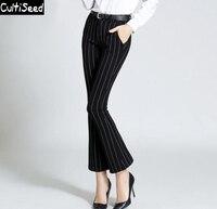 New Arrival 2018 Retro Bell Bottoms Pants Women Elegant OL Office Striped Elastic Skinny Flare Pants Fashion Pants