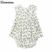 Baby Girls Summer Sets Dress Bloomers Brand Linen Cotton Kids Outfits Girls Children Clothing Newborn Baby