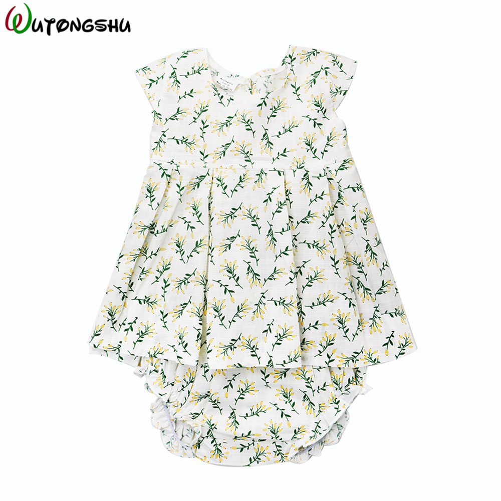 Baby Girls Summer Sets ( Dress +Bloomers ) Brand Linen Cotton Kids Outfits Girls Children Clothing Newborn Baby Girl Clothes