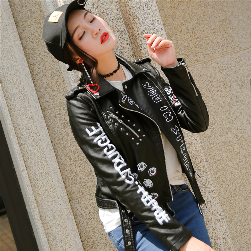 2019 Spring Fashion Punk Style PU   Leather   Jacket Women Letters Pattern Slim Long Sleeve Autumn Black Motorcycle Graffiti Coat