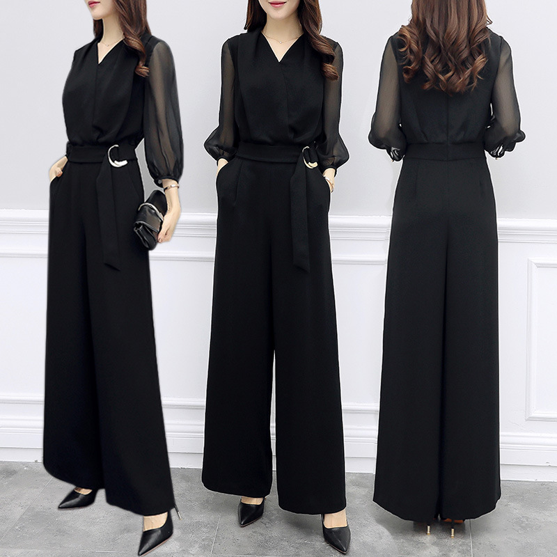 2018 Summer Women V-neck Chiffon   Jumpsuits   Elegant Ladies Black Party Wide Leg   Jumpsuits