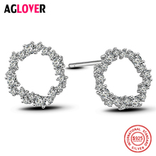 Woman 925 Silver Earrings Fashion Simple Round Stud AAA Crystal Zircon Brand 100% Female Jewelry