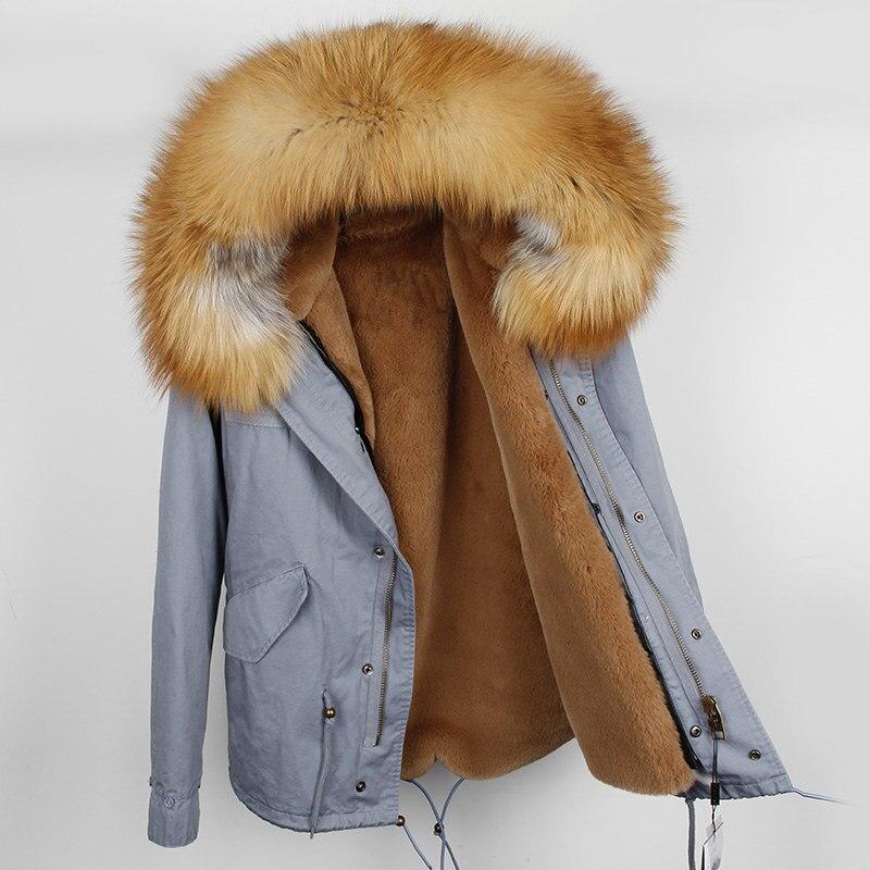 OFTBUY 2019 سترة الشتاء سترة المرأة الحقيقي الفراء معطف كبير الطبيعية الراكون الفراء طوق ستر الدافئة سميكة معطف الشتاء النساء قميص-في سترات فرائية مقلنسة من ملابس نسائية على  مجموعة 1