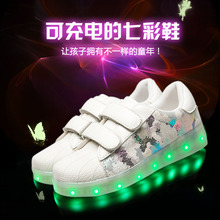 2017 Fashion Low Top USB Charging Led Kid Shoes For Girls And Boys White And Black Color Children Light -UP Casual SneakerS