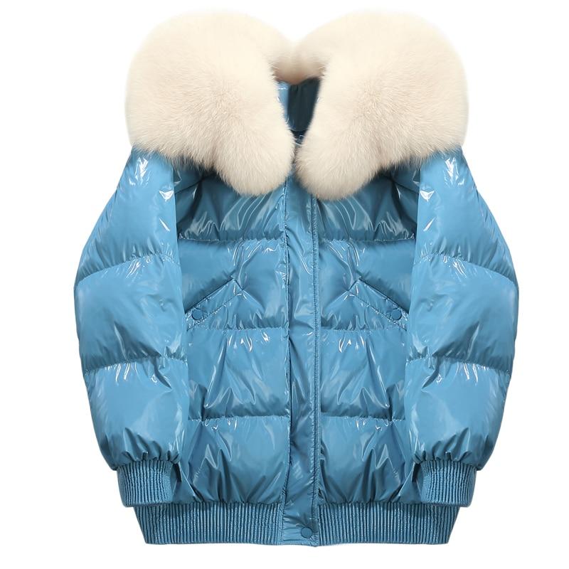 Oversize fur collar natural fur parka thicken down jacket women winter warm coat short glossy loose large size jackets down coat