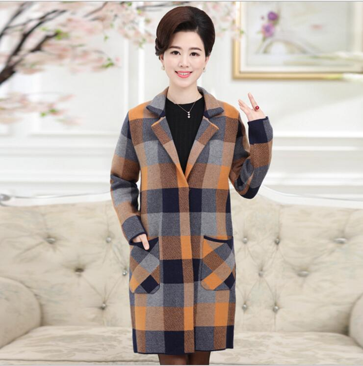 2016 fashion middle aged women font b tartan b font clothing long coat jacket autumn winter