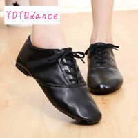 Woman S PU Leather Jazz Dance Shoes Lace Up Boots For Adult Woman Practice Yoga Shoes