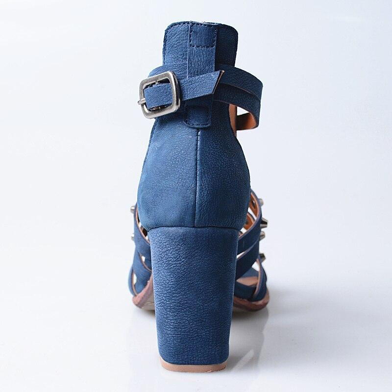 Signore Vera Donne Estate Borchie Sandalias Delle Gladiatore Cinturino Nero Di Caviglia Disegno Mujer 2018 Alla Sandali Rivetti Blu Scarpe Pelle brown Donna rwX0Hrq