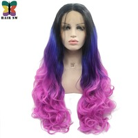 HAIR SW Long Wavy Synthetic Lace front Wig Rainbow Colorful Triple Black Blue Rose Red Handtied Ombre Cosplay Wig for Party