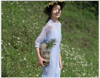 2017 New Spring Women dress Three Quarter Sleeve In Left Silk Dresses Sky Is Blue 9018