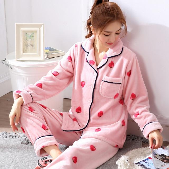 44d56af9b M-XXL women pajamas set autumn winter women thick flannel pajamas set thick  warm soft women home suits clothes