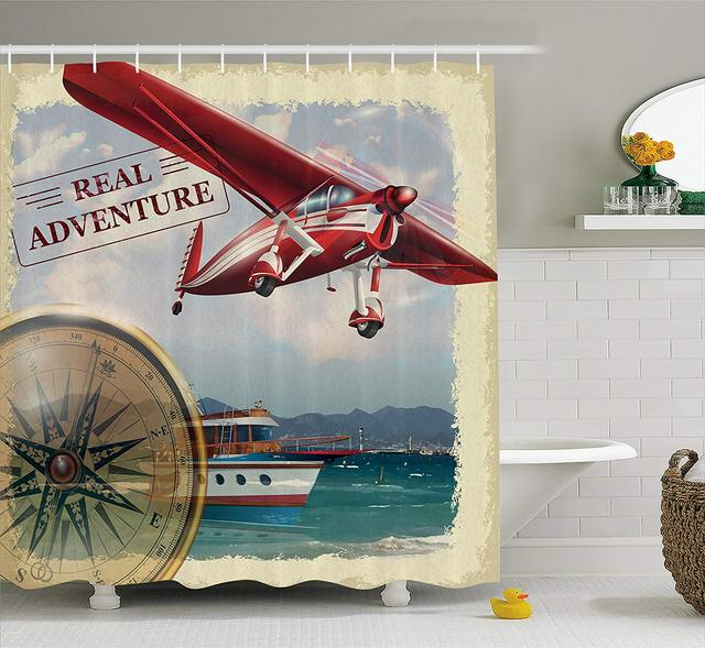 Adventure Shower Curtain Real Quote With Coastline And A Airplane Journey Travel Themed Art Bathroom Decor