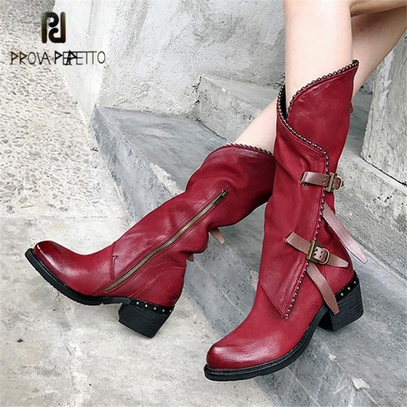 Prova Perfetto vin rouge femmes bottes hautes en cuir souple Rivets 5 CM talon Botas Mujer sangles plate-forme chaussures en caoutchouc botte d'équitation