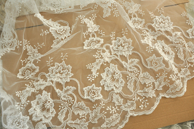 Ivory alencon bridal lace appliques fabric embroidery for Wedding dress fabric stores