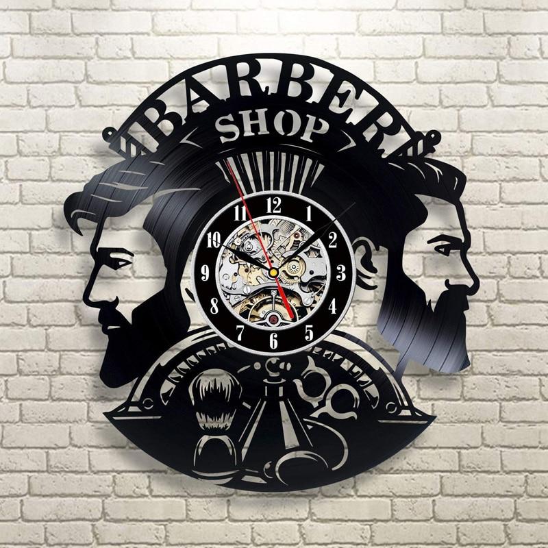 Barber Shop Wall Clock Modern Design Barbershop Vinyl Record Clocks Hairdresser Wall Watch Wall Decor For Barber SalonBarber Shop Wall Clock Modern Design Barbershop Vinyl Record Clocks Hairdresser Wall Watch Wall Decor For Barber Salon