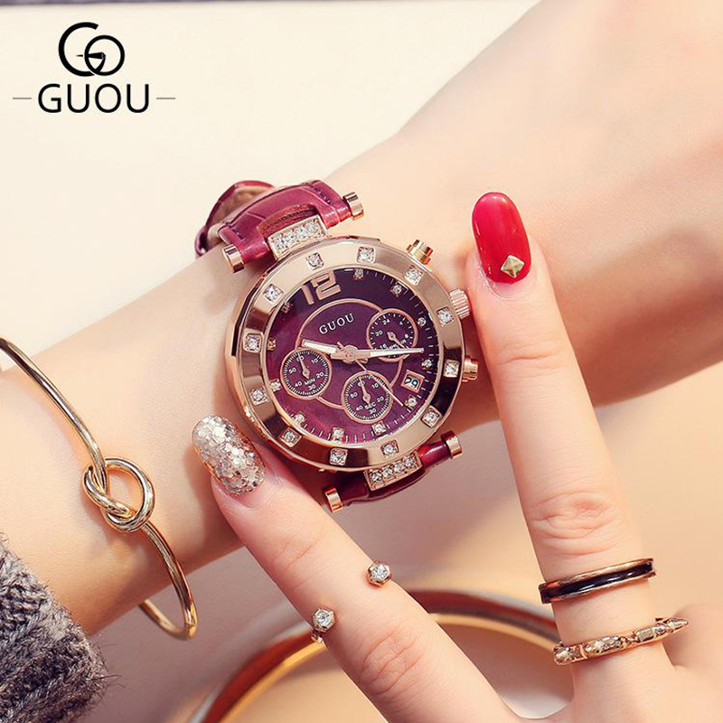 Montre Femme Top Brand Luxury Multi-Dial Rose Gold Women Watches With Date Fashion Red Leather Wristwatch Relogio Feminino Clock