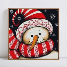 Cute Christmas Themed Snowman Printed DIY Diamond Painting