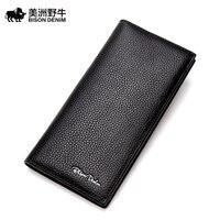 2017 BISON DENIM High Quality Brand Men Cowhide Wallet Genuine Leather Credit Card Wallet Large Capacity