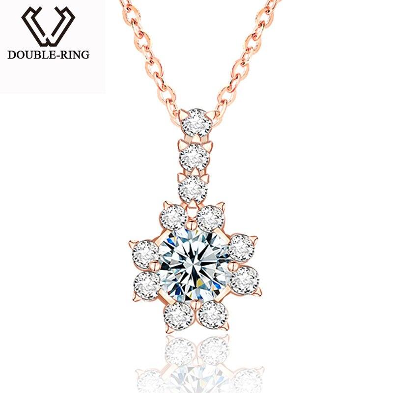 DOUBLE R, подлинное золотое ожерелье, подвески, женский цветок, 0.1ct, 18 К, золото, бриллиант, ювелирные украшения, женский свадебный подарок,