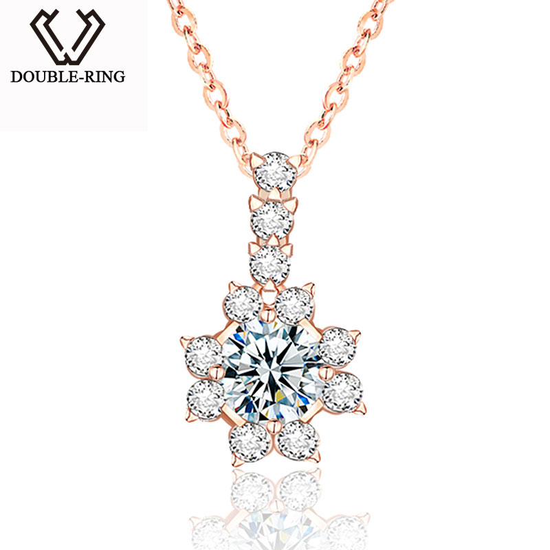DOUBLE R Genuine Gold Necklace Pendants Female Flower 0 1ct 18K Gold Diamond Fine Jewelry Women