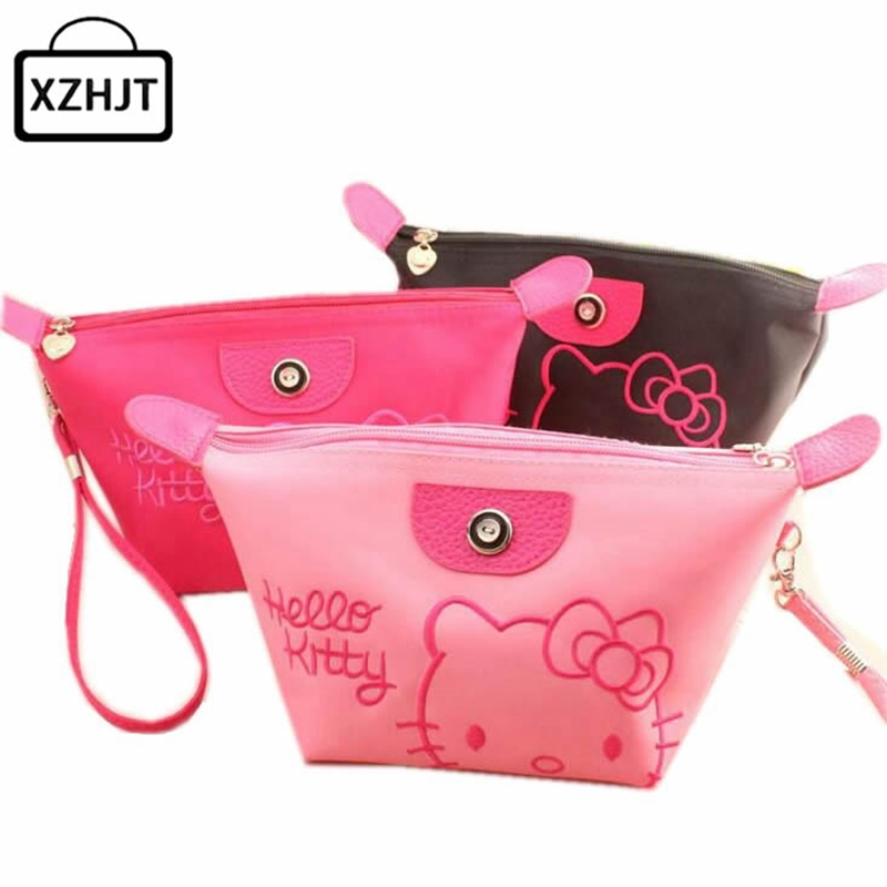 Women Portable Cute Cartoon Hello Kitty Cosmetic Bag Multifunction Beauty Zipper Travel Make Up Toiletry Pouch
