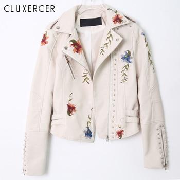 Women Floral Embroidery Rivet Faux Leather Jacket Coat Fashion 2018 Streetwear Style Punk White Black Winter