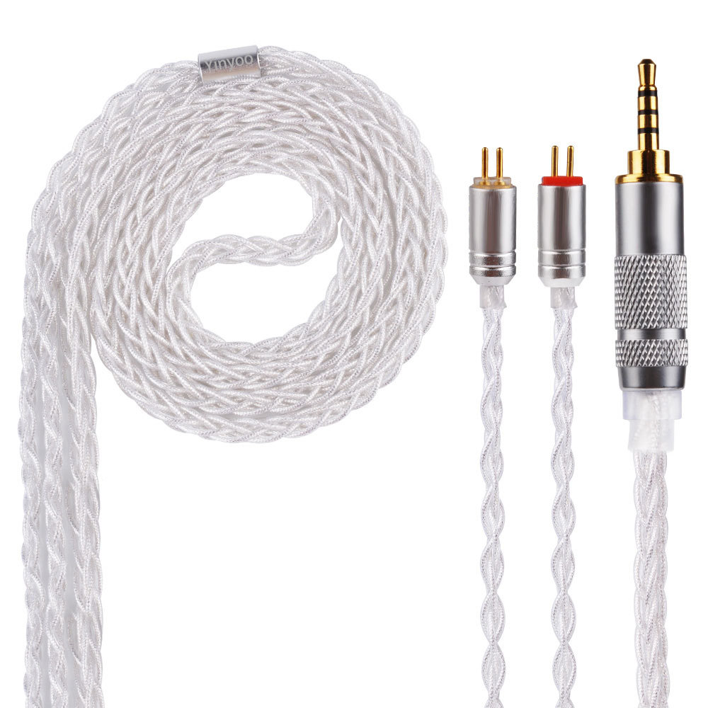 8 Shares MMCX Cable for Shure SE215 SE535 SE846 2 pin for ZS10 ZST ZAR for Sony 3.5mm 2.5mm 4.4mm Balance Silver Foil Cables