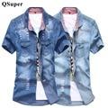Qsuper moda hombres jeans camisas slim fit marca casual denim de algodón de manga corta los hombres de vaquero vintage rasgado agujero bolsillos camisas