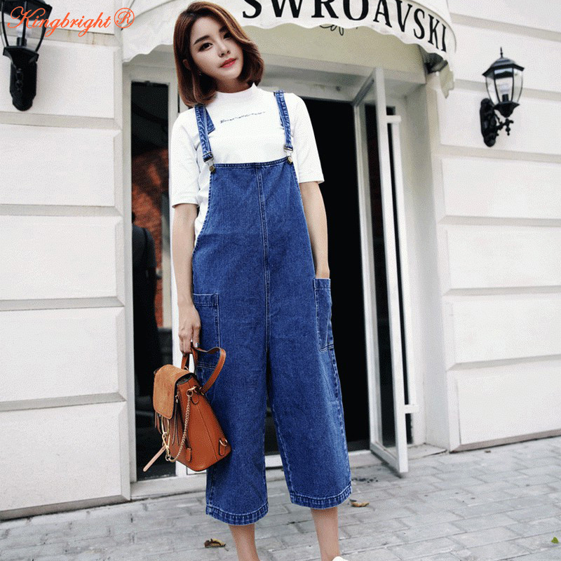 7063969e0a Women 2017 Summer Leisure Loose Size S XL Denim Jumpsuits Overalls collapse  Pants Calf length Strap Denim Trousers -in Jumpsuits from Women s Clothing  on ...