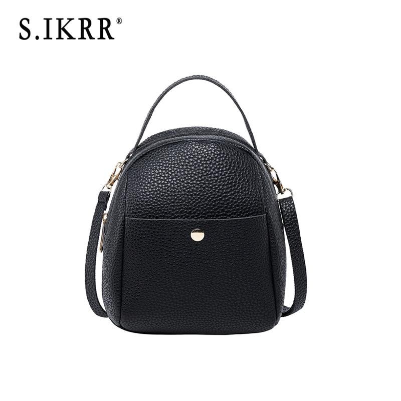 S.IKRR Luxury Fashion Mini Backpack Women New Disgner Female Shoulder Crossbody Bag School Bags For Teenage Girls Leather Purse