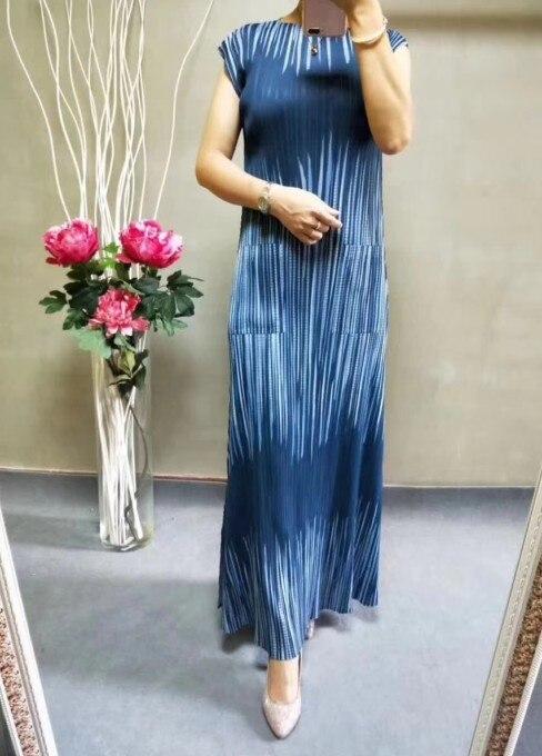 FREE SHIPPING Miyake  striped print fashion short sleeve o-neck pockets dress IN STOCK